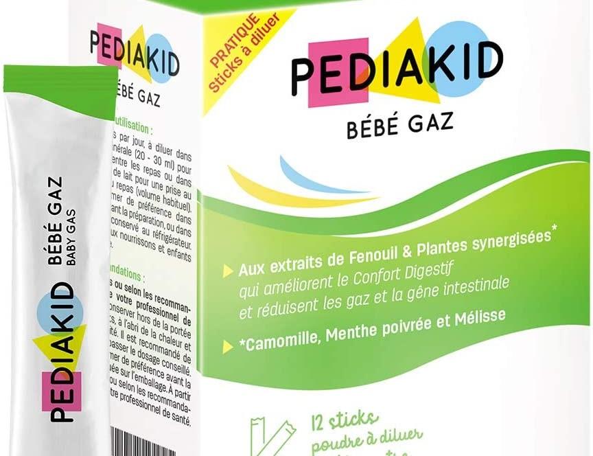 PEDIAKID - Bébé Gaz Sticks - Aide à Réduire les Gaz des Nourrissons et des Enfants en Bas Âge - Améliore le Confort Intestinal - Facile à Utiliser - Étui de 12 sticks de Poudre à Diluer - 9,90€
